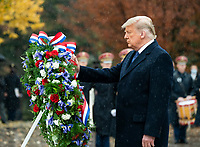 Veterans Day Observance at Arlington National Cemetery<br /> President Donald J. Trump places a wreath at The Tomb of The Unknown Soldier Wednesday, Nov. 11, 2020, during ceremonies at the National Veterans Day Observance at Arlington National Cemetery in Arlington, Va. (Official White House Photo by Shealah Craighead)