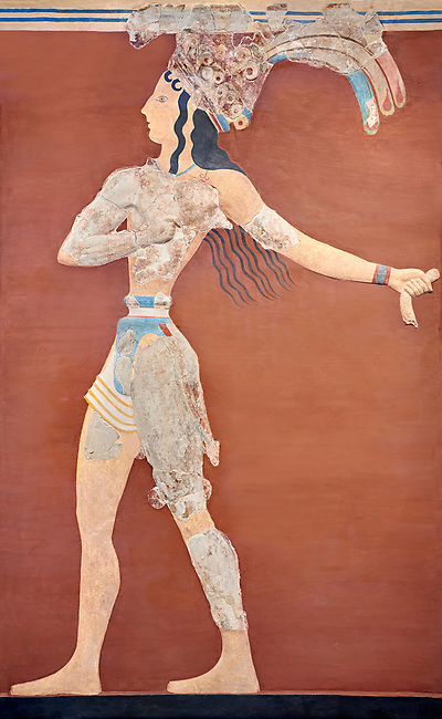 Minoan 'Prince of the Lilies' wall art freco, Knossos Palace, 1600-1450 BCHeraklion Archaeological Museum.<br /> <br /> An emblematic image of Minoan Crete this fresco was part of a larger composition in high relief. The fresco depicts a life size figure wearing a coloured kilt with a cod piece and a belt. A majestic crown on his head is adorned with papyrus lilies and peacock feathers. Neopalatial Period.