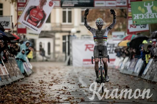 CX World Champion Mathieu van der Poel (NED/Corendon-Circus) winning the 3rd race of 3 since starting his CX season<br /> <br /> Jaarmarktcross Niel 2019 (BEL)<br /> <br /> ©kramon