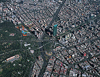aerial photograph overview of Torre Mayor, Paseo de La Reforma and Chapultepec Park, Mexico City, Mexico