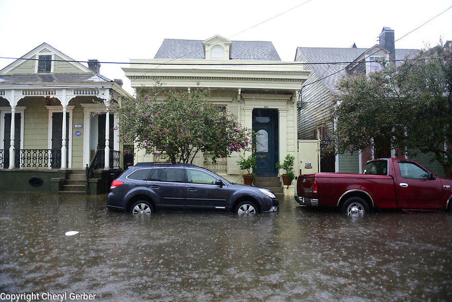 Heavy rains flooded streets in the historic Faubourg Marigny  in New Orleans after city pumps were overwhelmed, Sat., Aug. 5, 2017. (Photo by Cheryl Gerber)