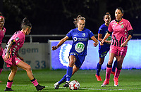 Jasmien Mathys (12 Gent) pictured in between Ylenia Carabott (7 Charleroi) and Delphine Preaux (4 Charleroi) during a female soccer game between  AA Gent Ladies and Sporting Charleroi Feminin on the fifth matchday of the 2020 - 2021 season of Belgian Scooore Womens Super League , friday 16 th of October 2020  in Oostakker , Belgium . PHOTO SPORTPIX.BE | SPP | DAVID CATRY