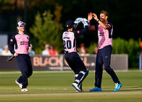 Chris Green (R) of Middlesex is congratulated by John Simpson after taking the wicket of Alex Blake during Kent Spitfires vs Middlesex, Vitality Blast T20 Cricket at The Spitfire Ground on 11th June 2021