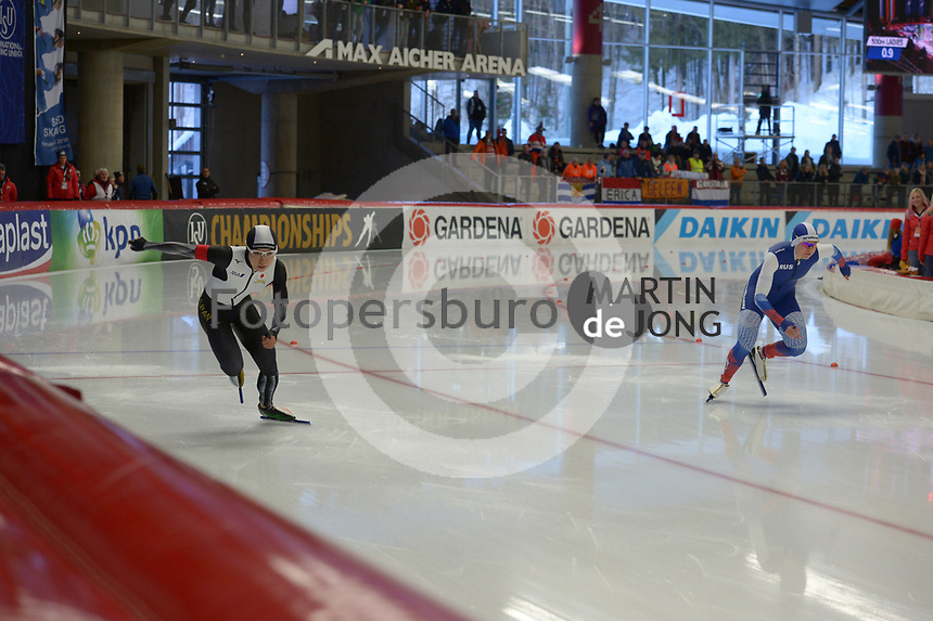 SPEEDSKATING: INZELL: Max Aicher Arena, 08-02-2019, ISU World Single Distances Speed Skating Championships, 500m Ladies, Nao Kodaira (JPN), Olga Fatkulina (RUS), ©photo Martin de Jong
