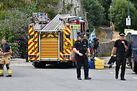 2018 07 13 Police and fire brigade at Pembroke Castle, Wales, UK