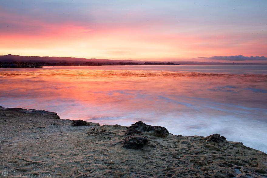Sunrise over Steamer's Lane in Santa Cruz, California