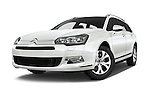 Stock pictures of low aggressive front three quarter view of 2015 Citroen C5-Tourer-XTR Hydractive-Exclusive 5 Door wagon Low Aggressive