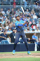 Hunter Greene (8) of the West Team pitches bats the East Team during the Perfect Game All American Classic at Petco Park on August 14, 2016 in San Diego, California. West Team defeated the East Team, 13-0. (Larry Goren/Four Seam Images)