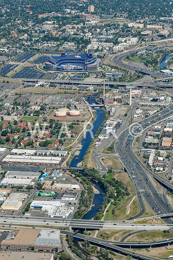 Mile High Stadium west of downtown Denver, with Platte River and Interstate 25.