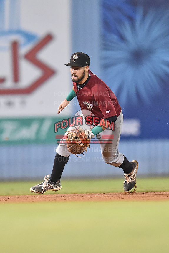 Savannah Sand Gnats shortstop Luis Guillorme (13) during game one of the Southern Division South Atlantic League Playoffs against the Asheville Tourists on September 9, 2015 in Asheville, North Carolina. The Tourists defeated the Sand Gnats 5-1. (Tony Farlow/Four Seam Images)