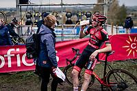Toon Vandenbosch (BEL/Pauwels Sauzen-Bingoal) on the recovery shake straight after finishing<br /> <br /> Koppenbergcross 2020 (BEL)<br /> <br /> ©kramon