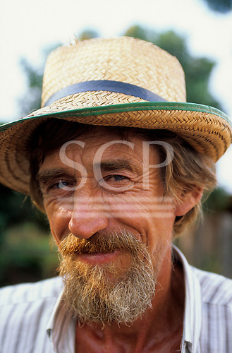 Juruena, Mato Grosso State, Amazon, Brazil; old man with wrinkled skin, blue eyes and fair hair, settler from the South-East.