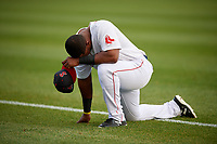 Salem Red Sox first baseman Jerry Downs (30) takes a moment before a game against the Lynchburg Hillcats on May 10, 2018 at Haley Toyota Field in Salem, Virginia.  Lynchburg defeated Salem 11-5.  (Mike Janes/Four Seam Images)