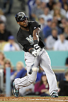 Florida Marlins shortstop Hanley Ramirez #2 bats against the Los Angeles Dodgers at Dodger Stadium on May 28, 2011 in Los Angeles,California. Photo by Larry Goren/Four Seam Images