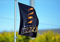 A Blaze flag flies during the Dream11 Super Smash women's cricket match between the Wellington Blaze and Canterbury Magicians at Basin Reserve in Wellington, New Zealand on Thursday, 9 January 2020. Photo: Dave Lintott / lintottphoto.co.nz