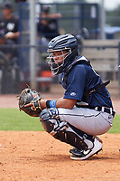 FCL Tigers East catcher Sergio Tapia (18) during a game against the FCL Yankees on July 27, 2021 at the Yankees Minor League Complex in Tampa, Florida. (Mike Janes/Four Seam Images)