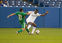 03 August 2010 Inter Milan forward Victor Nsofor Obinna No. 33 and Panathinaikos FC defender Nikolaos Spyropoulos No.31in action during an international friendly  between Inter Milan FC and Panathinaikos FC at the Rogers Centre in Toronto..
