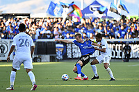 SAN JOSE, CA - JUNE 26: Jackson Yueill #14 of the San Jose Earthquakes is defended by Jonathan dos Santos #8 of the LA Galaxy during a game between Los Angeles Galaxy and San Jose Earthquakes at PayPal Park on June 26, 2021 in San Jose, California.