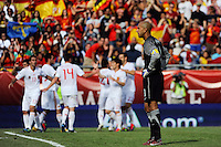United States goalkeeper Tim Howard (1) reacts as Spain celebrates scoring a goal. The men's national team of Spain (ESP) defeated the United States (USA) 4-0 during a International friendly at Gillette Stadium in Foxborough, MA, on June 04, 2011.