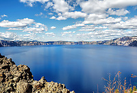 Central view of Crater Lake during the early summer, Oregon.