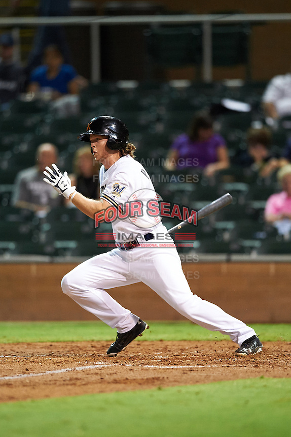 Salt River Rafters Brett Phillips (7), of the Milwaukee Brewers organization, during a game against the Peoria Javelinas on October 11, 2016 at Salt River Fields at Talking Stick in Scottsdale, Arizona.  The game ended in a 7-7 tie after eleven innings.  (Mike Janes/Four Seam Images)