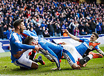 Harry Forrester celebrates his goal for Rangers with Michael O'Halloran