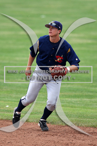 State College Spikes shortstop Walker Gourley (7) during a game vs. the Batavia Muckdogs at Dwyer Stadium in Batavia, New York June 27, 2010.   State College defeated Batavia 4-2.  Photo By Mike Janes/Four Seam Images