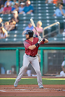 Chris Shaw (18) of the Sacramento River Cats at bat against the Salt Lake Bees at Smith's Ballpark on July 18, 2019 in Salt Lake City, Utah. The Bees defeated the River Cats 9-6. (Stephen Smith/Four Seam Images)
