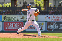 Jason Garcia (26) of the Hartford Yard Goats delivers a pitch during a game against the Binghamton Rumble Ponies at Dunkin Donuts Park on May 9, 2018 in Hartford, Connecticut. (Gregory Vasil/Four Seam Images)