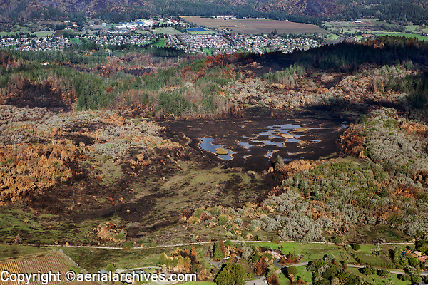 Ledson Marsh, Annadel State Park burned during the Nuns Fire, Sonoma County, California, northern California wildfires, 2017.