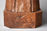 BNPS.co.uk (01202 558833)<br /> Pic: Tennants/BNPS<br /> <br /> Pictured: The carving of a mouse on a carved English oak figure.<br /> <br /> Celebrity chef Marco Pierre White is selling his £90,000 collection of highly sought-after 'Mouseman' furniture that has graced his country hotel.<br /> <br /> The items were created by Robert 'Mousey' Thompson who earned his nickname by carving a small mouse somewhere into each piece of oak furniture he made.<br /> <br /> Marco Pierre White began collecting Mouseman furniture many years ago and installed it in his Rudloe Arms hotel in Wiltshire.<br /> <br /> The Michelin starred-chef has acquired so much of it that some of the items are now surplus to requirement.