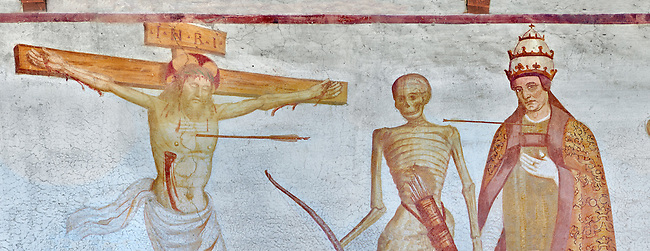 """Crucifiction fresco on the Church of San Vigilio in Pinzolo, part of its mural painting """"the Dance of Death"""" painted by Simone Baschenis of Averaria in1539, Pinzolo, Trentino, Italy"""