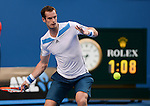 Andy Murray (GBR) defeats Go Soeda (JPN) 6-1, 6-1, 6-3 at the Australian Open in Melbourne, Australia on January 14, 2014