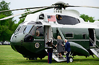 U.S. President Joe Biden and First Lady Jill Biden board Marine One on the Ellipse of the White House in Washington, D.C., U.S., on Monday, May 3, 2021. Biden's $4 trillion vision of remaking the federal government's role in the U.S. economy is now in the hands of Congress, where both parties see a higher chance of at least some compromise than for the administration's pandemic-relief bill. <br /> Credit: Erin Scott / Pool via CNP /MediaPunch