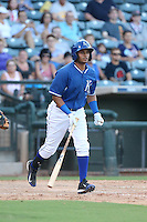 Gabriel Cancel (14) of the AZL Royals bats during a game against the AZL Mariners at Surprise Stadium on July 4, 2015 in Surprise, Arizona. Mariners defeated the Royals, 7-4. (Larry Goren/Four Seam Images)