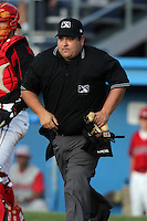 Umpire Ryan Rafferty during a game at Dwyer Stadium in Batavia, New York;  July 14, 2010.  Photo By Mike Janes/Four Seam Images