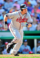 25 September 2010: Atlanta Braves outfielder Eric Hinske in action against the Washington Nationals at Nationals Park in Washington, DC. The Braves shut out the Nationals 5-0 to even their 3-game series at one win apiece. The Braves' victory was the 2500th career win for skipper Bobby Cox. Cox will retire at the end of the 2010 season, crowning a 29-year managerial career. Mandatory Credit: Ed Wolfstein Photo