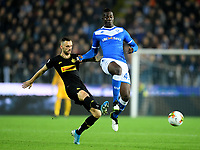 191030 -- BRESCIA, Oct. 30, 2019 Xinhua -- FC Inter s Marcelo Brozovic L vies with Brescia s Mario Balotelli during a Serie A soccer match between Brescia and FC Inter in Brescia, Italy, Oct 29, 2019. Photo by Alberto Lingria/Xinhua SPITALY-BRESCIA-SOCCER-SERIE A-INTER MILAN VS BRESCIA PUBLICATIONxNOTxINxCHN <br /> Brescia 29-10-2019 Stadio Mario Rigamonti <br /> Football Serie A 2019/2020 <br /> Brescia - FC Internazionale <br /> Photo Alberto Lingria / Xinhua / Imago  / Insidefoto