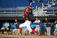 Batavia Muckdogs center fielder Corey Bird (12) at bat during a game against the West Virginia Black Bears on August 21, 2016 at Dwyer Stadium in Batavia, New York.  West Virginia defeated Batavia 6-5. (Mike Janes/Four Seam Images)