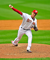 13 April 2009: Washington Nationals' pitcher Julian Tavarez on the mound in relief against the Philadelphia Phillies during the Nats' Home Opener at Nationals Park in Washington, DC. The Nats fell short in their 9th inning rally, losing 9-8, and marking their 7th consecutive loss of the 2009 season. Mandatory Credit: Ed Wolfstein Photo