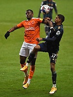 Blackpool's Beryly Lubala battles with Leeds United's Cody Drameh<br /> <br /> Photographer Dave Howarth/CameraSport<br /> <br /> EFL Trophy - Northern Section - Group G - Blackpool v Leeds United U21 - Wednesday 11th November 2020 - Bloomfield Road - Blackpool<br />  <br /> World Copyright © 2020 CameraSport. All rights reserved. 43 Linden Ave. Countesthorpe. Leicester. England. LE8 5PG - Tel: +44 (0) 116 277 4147 - admin@camerasport.com - www.camerasport.com