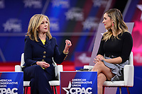 National Harbor, MD - February 27, 2020: U.S. Representative Marsha Blackburn (left) speaks during a discussion about socialism moderated by Katie Pavlich during CPAC 2020 hosted by the American Conservative Union at the Gaylord National Resort at National Harbor, MD February 27, 2020.  (Photo by Don Baxter/Media Images International)