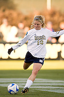Notre Dame Fighting Irish defender Jessica Schuveiller (12). The North Carolina Tar Heels defeated the Notre Dame Fighting Irish 2-1 during the finals of the NCAA Women's College Cup at Wakemed Soccer Park in Cary, NC, on December 7, 2008. Photo by Howard C. Smith/isiphotos.com