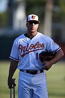 Baltimore Orioles first baseman Chris Davis (19) before a Spring Training game against the Atlanta Braves on April 3, 2015 at Ed Smith Stadium in Sarasota, Florida.  Baltimore defeated Atlanta 3-2.  (Mike Janes/Four Seam Images)