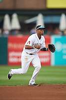 Kane County Cougars shortstop Dawel Lugo (12) fields a ground ball during a game against the Great Lakes Loons on August 13, 2015 at Fifth Third Bank Ballpark in Geneva, Illinois.  Great Lakes defeated Kane County 7-3.  (Mike Janes/Four Seam Images)