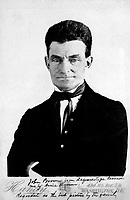 John Brown (before acquisition of beard which typifies him as the stormy prophet of emancipation).  Ca. 1850. Copy of daguerreotype. (Marine Corps)<br /> Exact Date Shot Unknown<br /> NARA FILE #:  127-N-521396<br /> WAR & CONFLICT BOOK #:  114