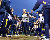 Michigan Wolverines Softball infielder Caitlin Blanchard (44) is introduced before a game against the University of South Florida Bulls on February 8, 2014 at the USF Softball Stadium in Tampa, Florida.  Michigan defeated USF 3-2.  (Copyright Mike Janes Photography)