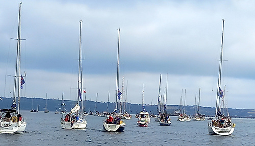 The Royal Cork Yacht Club fleet gathering for this morning's Tricentenary celebration in Cork Harbour.