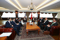 Pictured L-R: Alexis Tsipras and his Turkish counterpart Ahmet Davutoglou (both CENTRE) Tuesday 08 March 2016<br /> Re: The Prime Ministers of Turkey Ahmet Davutoglu and Greece Alexis Tsipras have met in Smyrna, Turkey to discuss ways to enhance their cooperation as both countries are grappling with an influx of migrants,