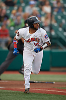 Brooklyn Cyclones Jose Mena (16) runs to first base during a NY-Penn League game against the Tri-City ValleyCats on August 17, 2019 at MCU Park in Brooklyn, New York.  Brooklyn defeated Tri-City 2-1.  (Mike Janes/Four Seam Images)